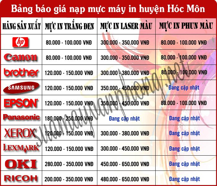 Bảng báo giá dịch vụ nạp mực máy in huyện Hóc Môn